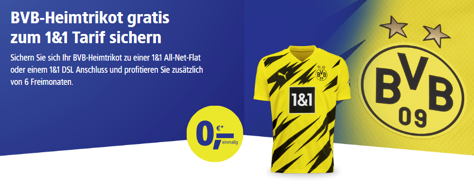 BVB-Heimtrikot gratis mit 1&1-Tarif
